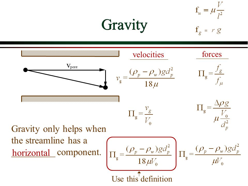 Gravity v pore Gravity only helps when the streamline has a _________ component. horizontal velocities forces Use this definition
