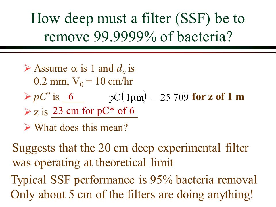 How deep must a filter (SSF) be to remove 99.9999% of bacteria? Assume is 1 and d c is 0.2 mm, V 0 = 10 cm/hr pC * is ____ z is ________________ What
