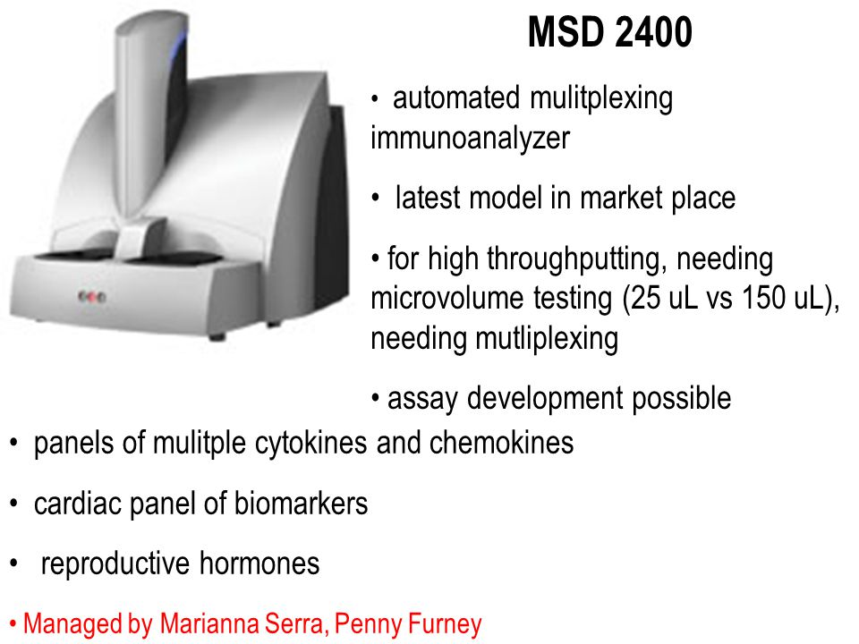 Managed by Marianna Serra, Penny Furney MSD 2400 automated mulitplexing immunoanalyzer latest model in market place for high throughputting, needing m