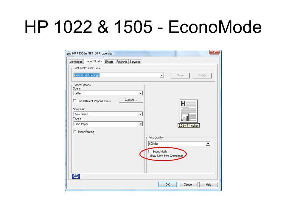 HP 1022 & 1505 - EconoMode