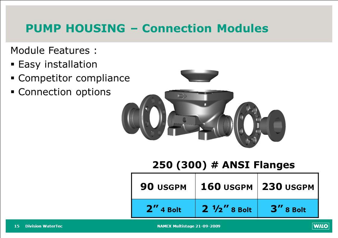 Division WaterTecNAMEX Multistage 21-09-200915 PUMP HOUSING – Connection Modules Module Features : Easy installation Competitor compliance Connection options 90 USGPM 160 USGPM 230 USGPM 2 4 Bolt 2 ½ 8 Bolt 3 8 Bolt 250 (300) # ANSI Flanges