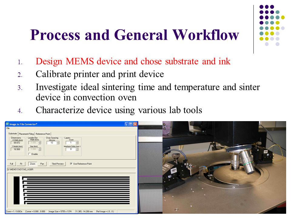5 Process and General Workflow 1. Design MEMS device and chose substrate and ink 2.