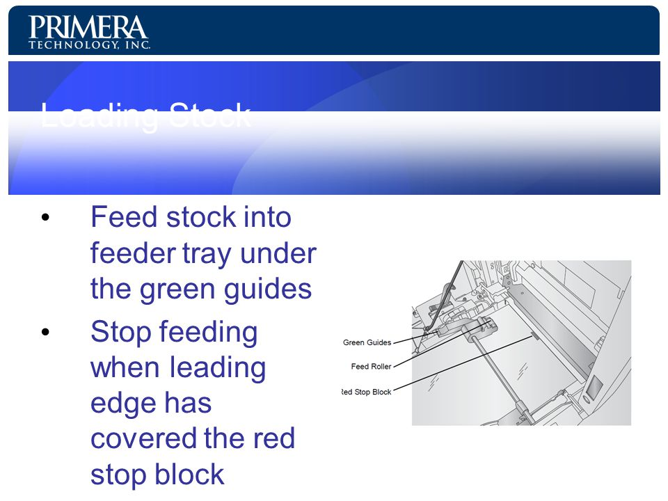 Loading Stock Feed stock into feeder tray under the green guides Stop feeding when leading edge has covered the red stop block