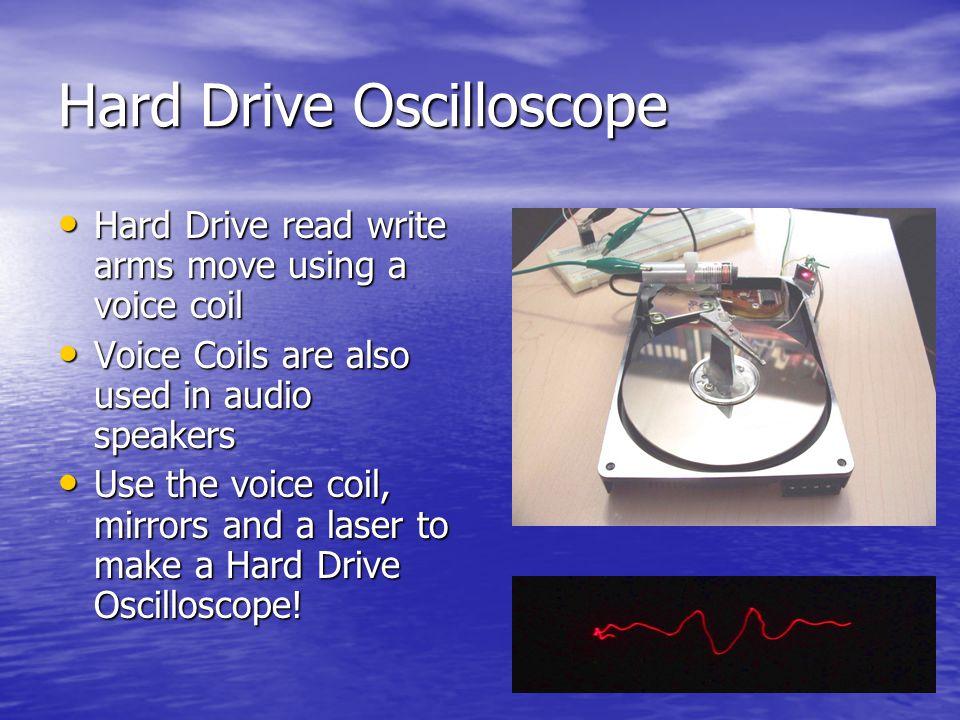 Hard Drive Oscilloscope Hard Drive read write arms move using a voice coil Hard Drive read write arms move using a voice coil Voice Coils are also use