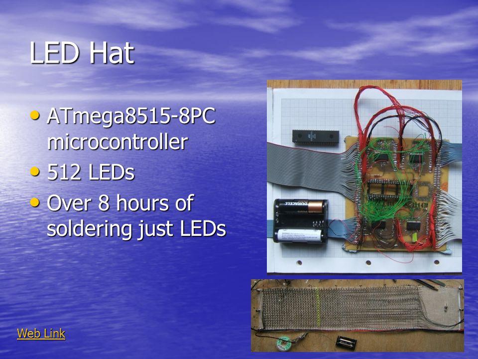 LED Hat ATmega8515-8PC microcontroller ATmega8515-8PC microcontroller 512 LEDs 512 LEDs Over 8 hours of soldering just LEDs Over 8 hours of soldering