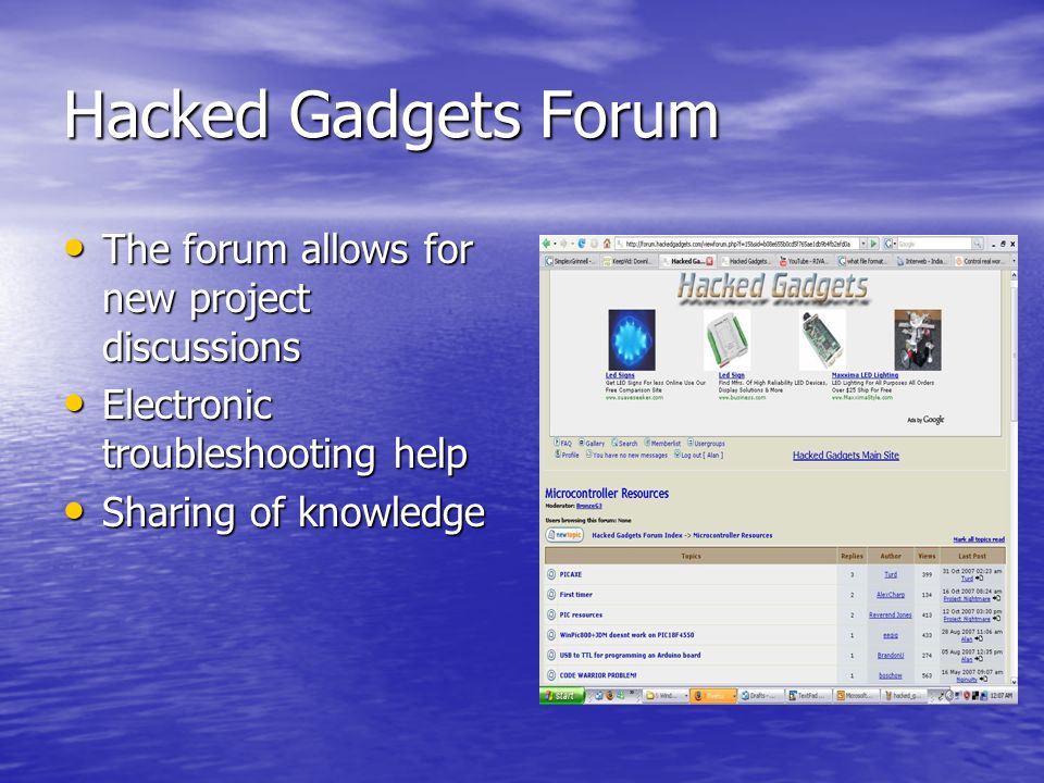 Hacked Gadgets Forum The forum allows for new project discussions The forum allows for new project discussions Electronic troubleshooting help Electro