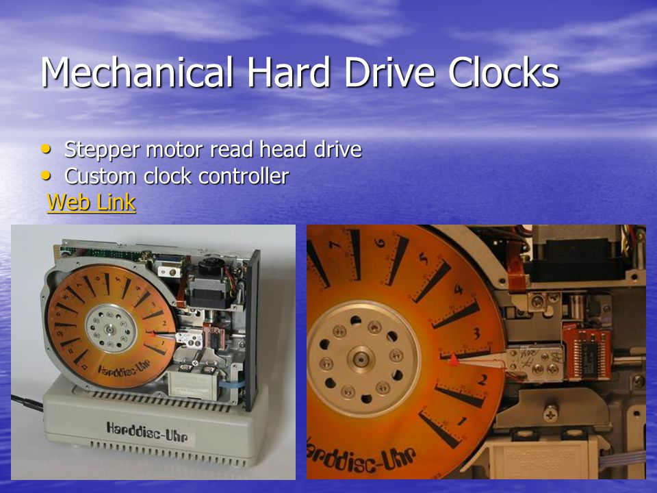 Mechanical Hard Drive Clocks Stepper motor read head drive Stepper motor read head drive Custom clock controller Custom clock controller Web Link Web