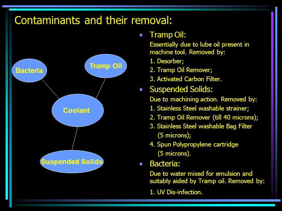 Contaminants and their removal: Tramp Oil: Essentially due to lube oil present in machine tool. Removed by: 1. Desorber; 2. Tramp Oil Remover; 3. Acti