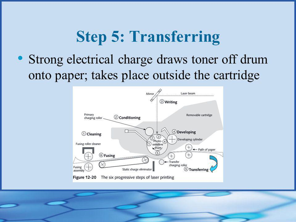 Step 5: Transferring Strong electrical charge draws toner off drum onto paper; takes place outside the cartridge