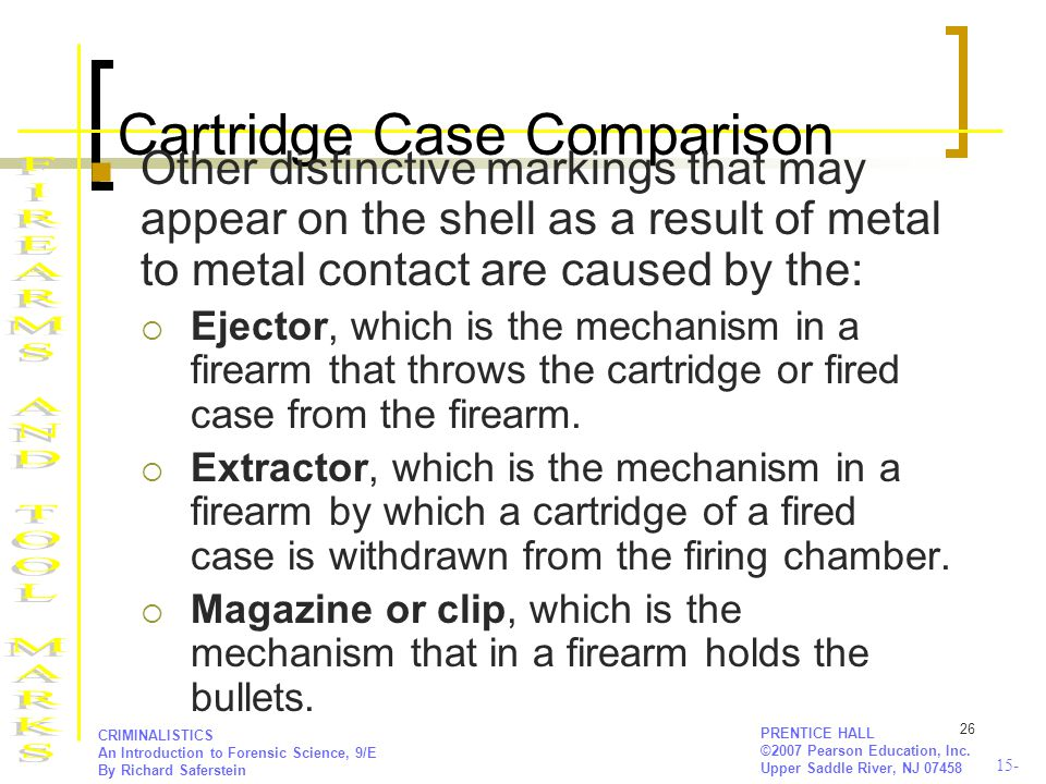 15- PRENTICE HALL ©2007 Pearson Education, Inc. Upper Saddle River, NJ 07458 CRIMINALISTICS An Introduction to Forensic Science, 9/E By Richard Safers