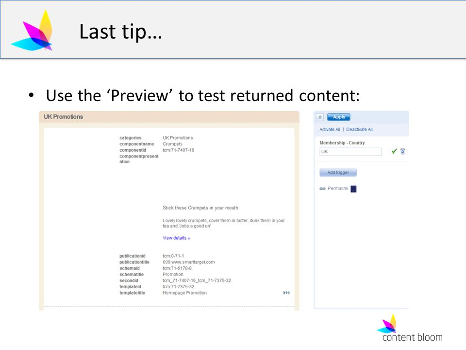 Last tip… Use the Preview to test returned content: