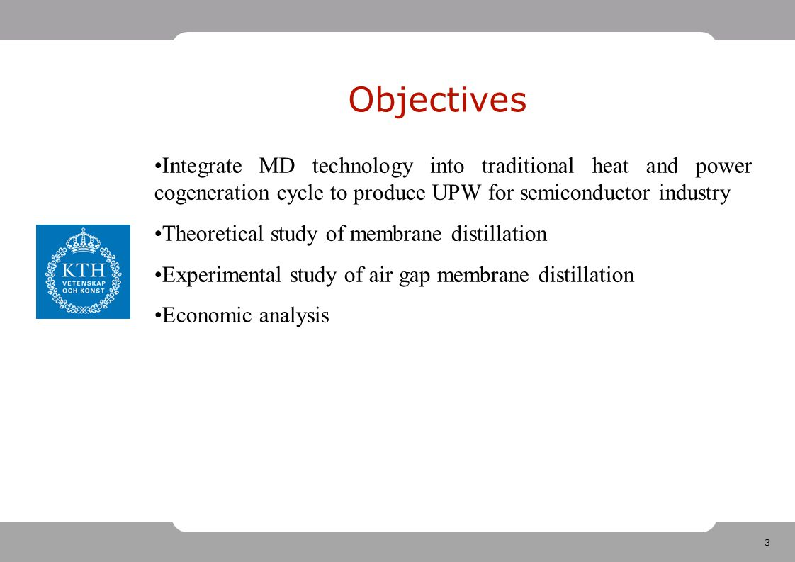 3 Objectives Integrate MD technology into traditional heat and power cogeneration cycle to produce UPW for semiconductor industry Theoretical study of