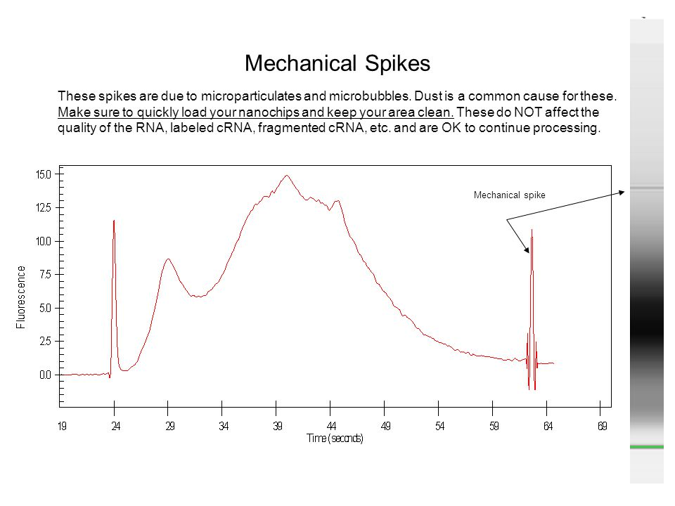 Mechanical Spikes Mechanical spike These spikes are due to microparticulates and microbubbles. Dust is a common cause for these. Make sure to quickly