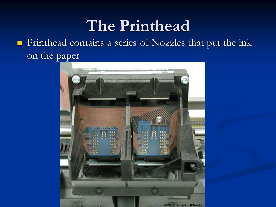 The Printhead Printhead contains a series of Nozzles that put the ink on the paper Printhead contains a series of Nozzles that put the ink on the pape