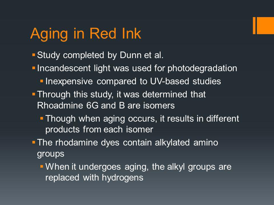 Aging within the Ink Cartridge One may worry about the degradation of the ink occurring within the pen, before its used on document in question Studies were completed, using a variety of pen types, to discredit this concern It was concluded that, for the most part, the ink remains stable while still in the cartridge There were some cases in which degradation did occur within the cartridge, most likely caused by the solvent use The possibility that a dye can degrade in a pen need not negate the use of methods, such as laser desorption MS for the analysis of inks to determine the age of a written line, since other methods are commonly used that evaluate solvent content