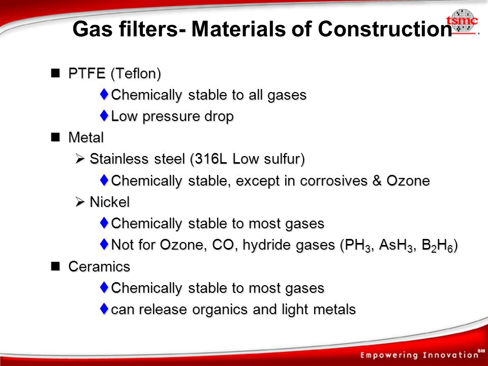 Gas filters- Materials of Construction PTFE (Teflon) PTFE (Teflon) Chemically stable to all gases Chemically stable to all gases Low pressure drop Low
