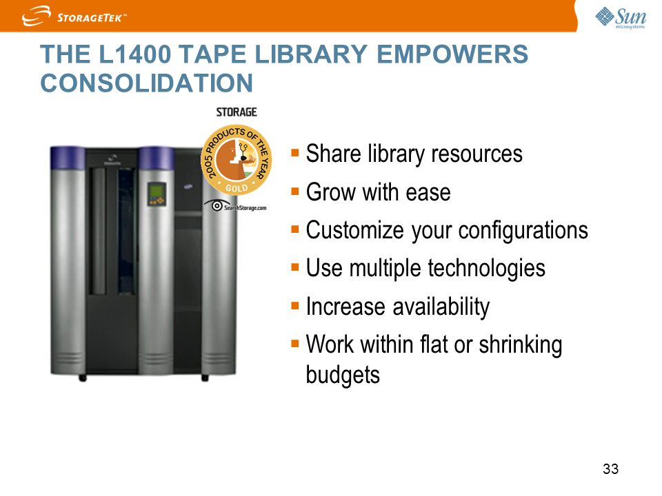 33 THE L1400 TAPE LIBRARY EMPOWERS CONSOLIDATION Share library resources Grow with ease Customize your configurations Use multiple technologies Increa
