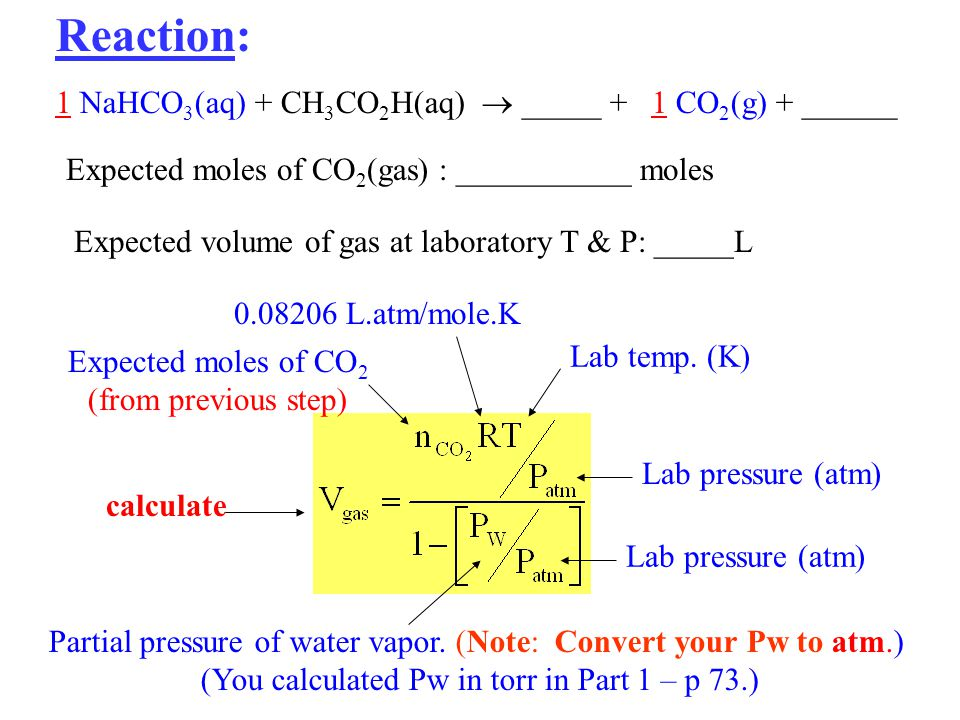 Reaction: 1 NaHCO 3 (aq) + CH 3 CO 2 H(aq) _____ + 1 CO 2 (g) + ______ Expected moles of CO 2 (gas) : ___________ moles Expected volume of gas at laboratory T & P: _____L Lab temp.