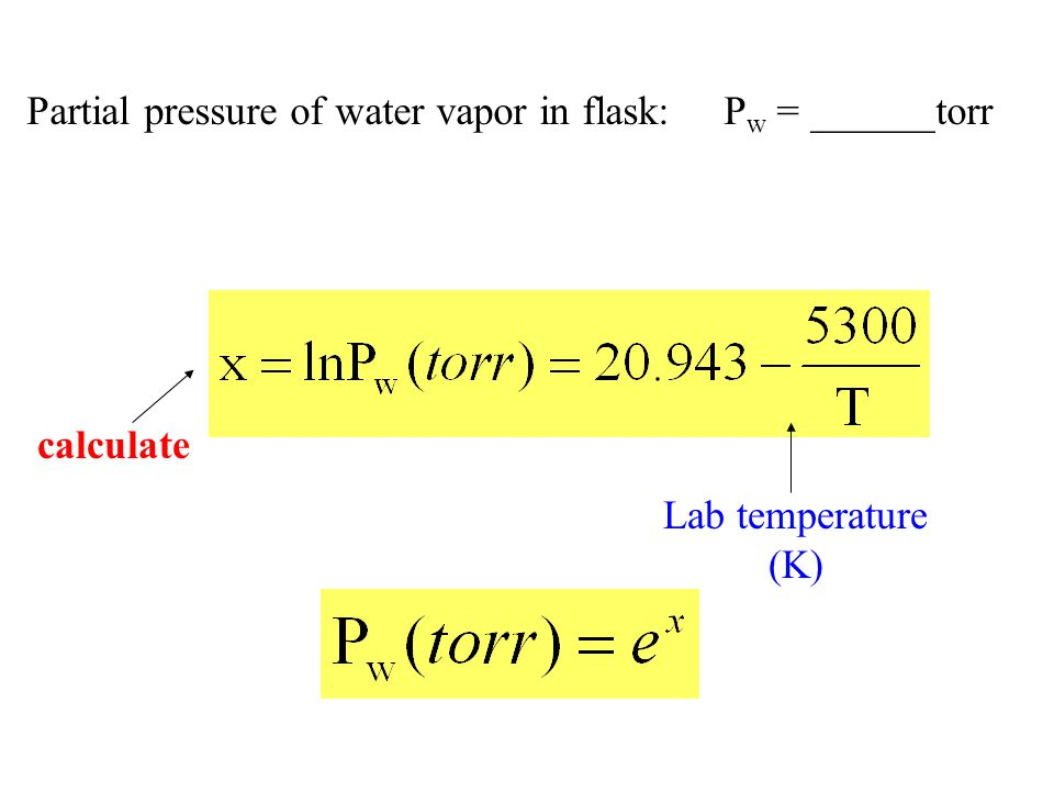 Partial pressure of water vapor in flask: P w = ______torr Lab temperature (K) calculate