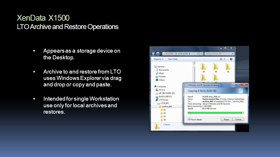 XenData X1500 LTO Archive and Restore Operations Appears as a storage device on the Desktop.