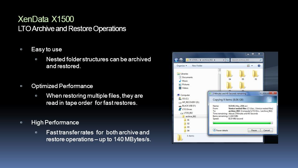 XenData X1500 LTO Archive and Restore Operations Easy to use Nested folder structures can be archived and restored.