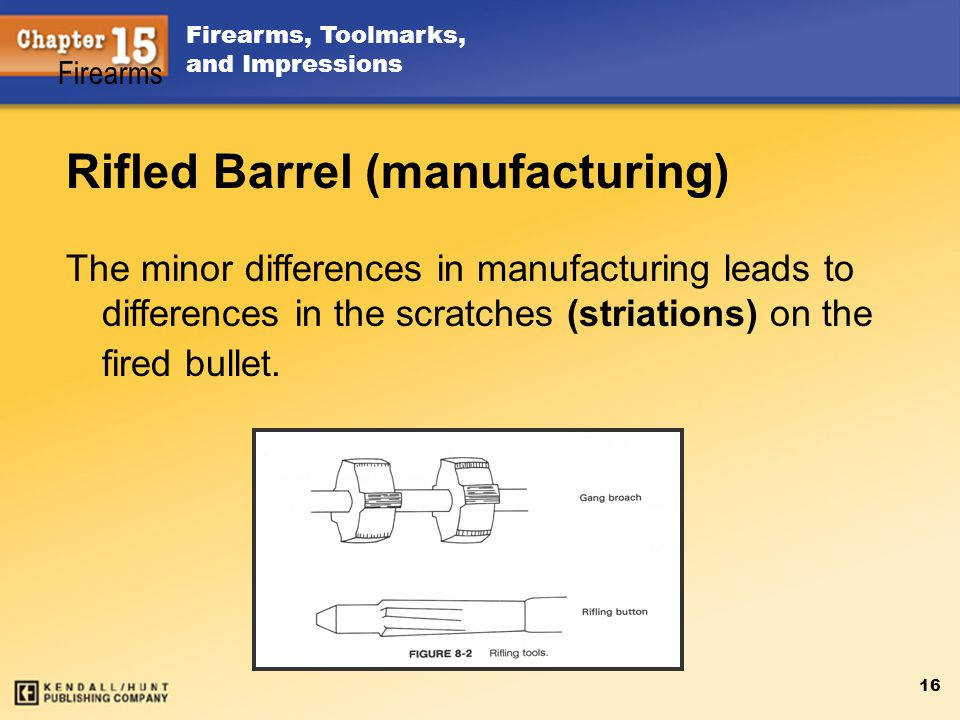 Firearms, Toolmarks, and Impressions 16 Rifled Barrel (manufacturing) The minor differences in manufacturing leads to differences in the scratches (st