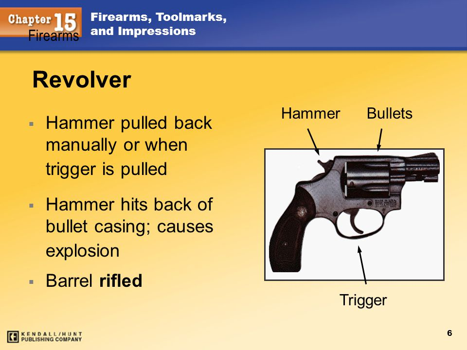 Firearms, Toolmarks, and Impressions 6 Revolver Hammer pulled back manually or when trigger is pulled Hammer hits back of bullet casing; causes explos