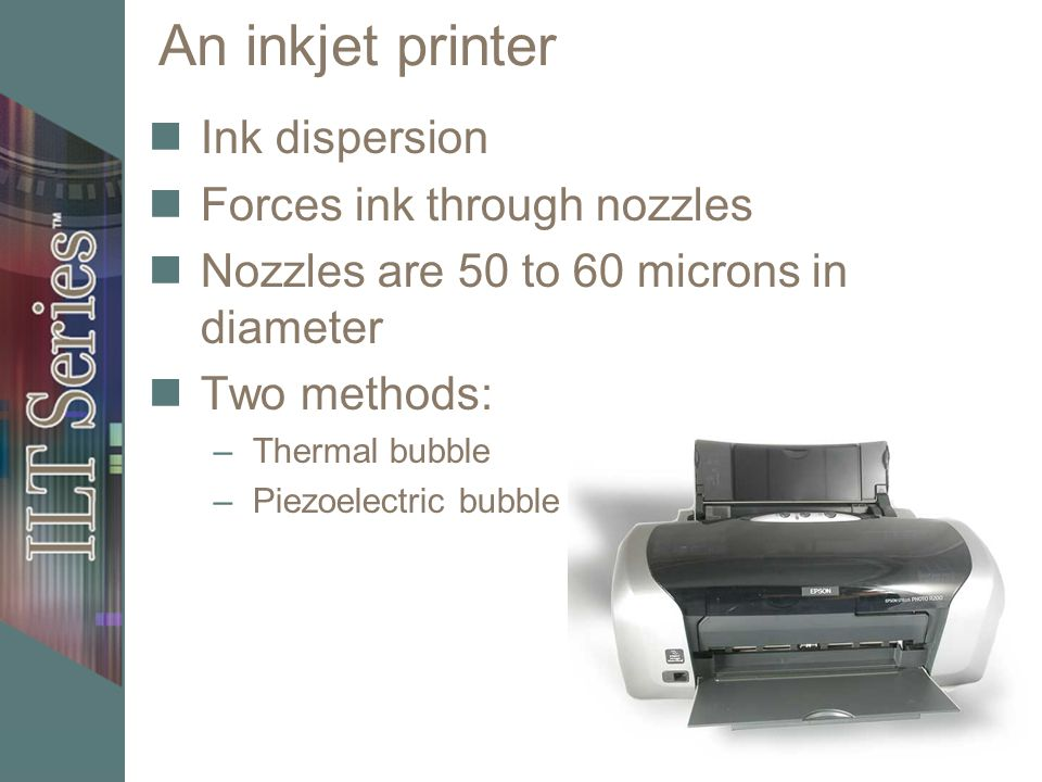 Inkjet process Thermal bubble technology Piezoelectric technology Ink cartridges