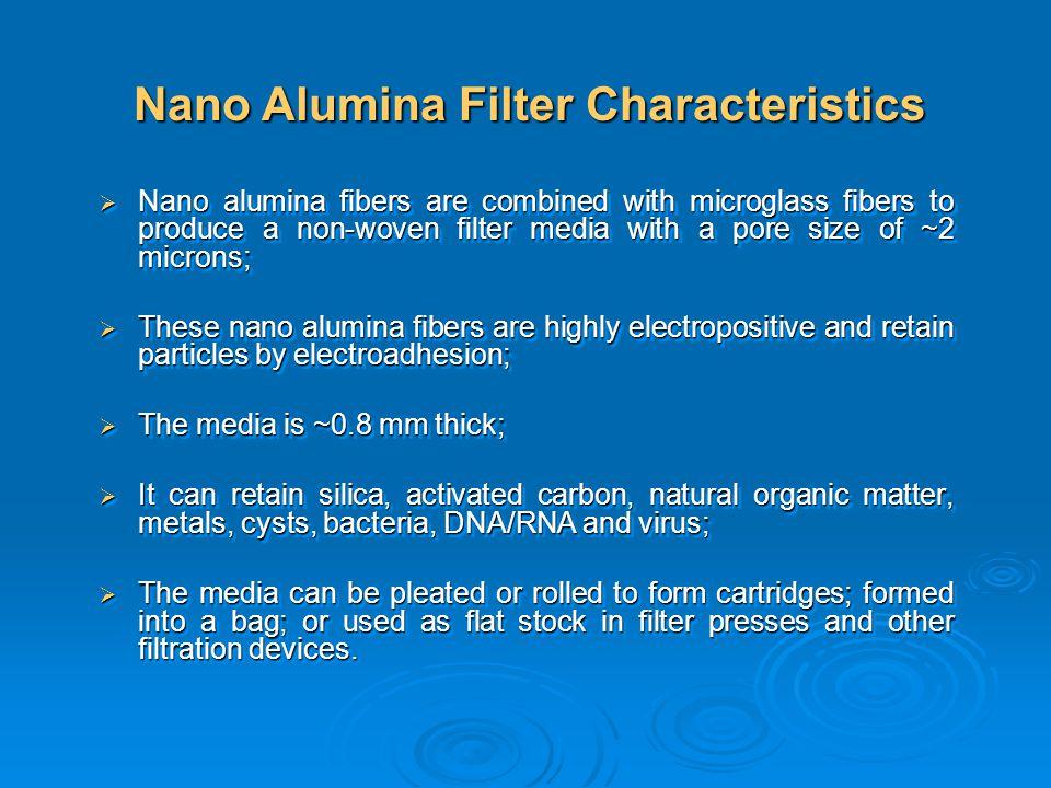 Nano alumina fibers are combined with microglass fibers to produce a non-woven filter media with a pore size of ~2 microns; Nano alumina fibers are co