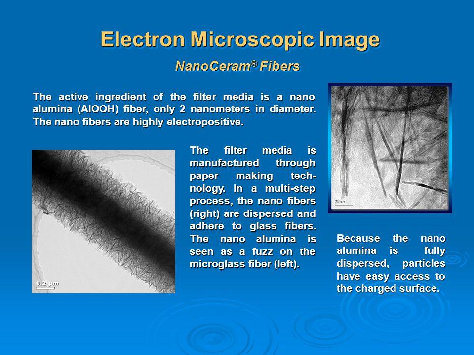 Electron Microscopic Image NanoCeram ® Fibers The active ingredient of the filter media is a nano alumina (AlOOH) fiber, only 2 nanometers in diameter
