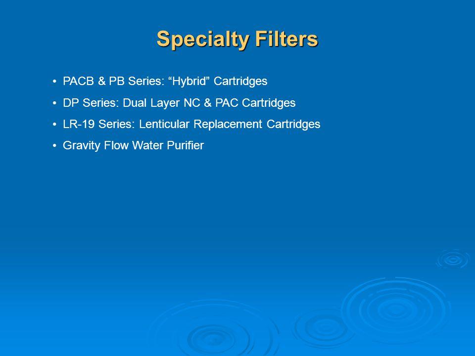 Specialty Filters PACB & PB Series: Hybrid Cartridges DP Series: Dual Layer NC & PAC Cartridges LR-19 Series: Lenticular Replacement Cartridges Gravit