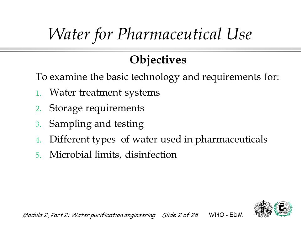 Module 2, Part 2: Water purification engineering Slide 23 of 25 WHO - EDM Water for Pharmaceutical Use Gamma raysX RaysU.V.