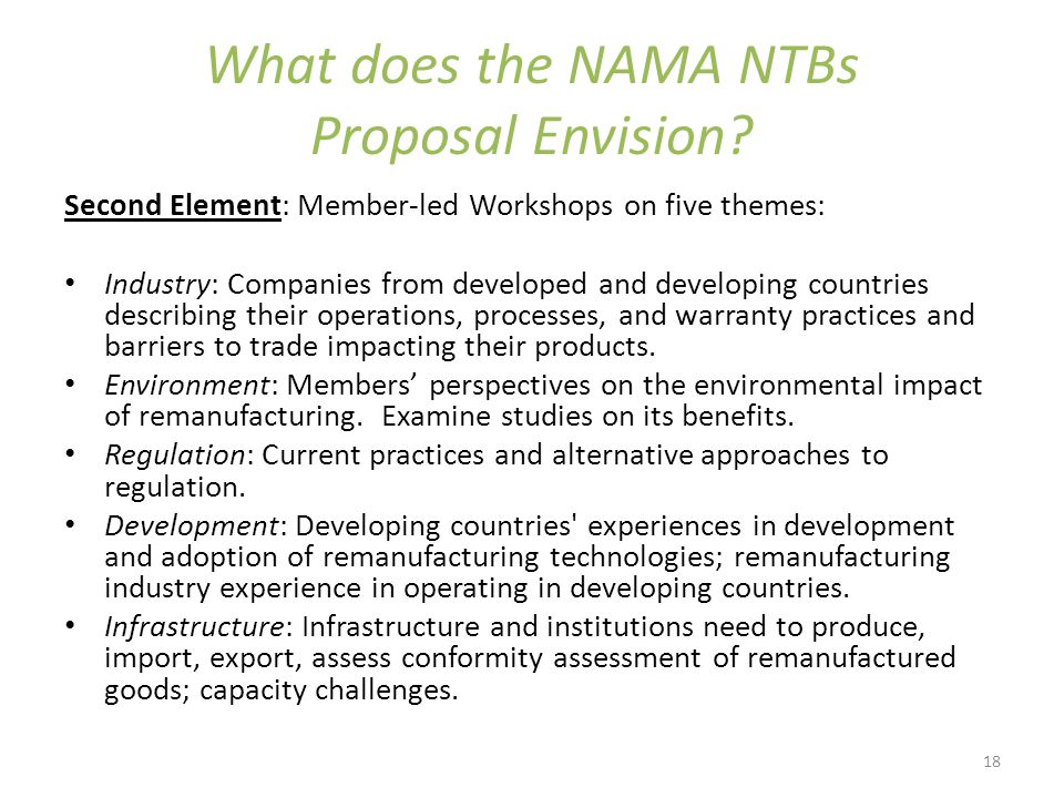 18 What does the NAMA NTBs Proposal Envision.