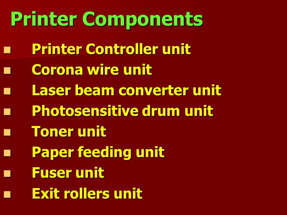 Printer Components Printer Controller unit Printer Controller unit Corona wire unit Corona wire unit Laser beam converter unit Laser beam converter un