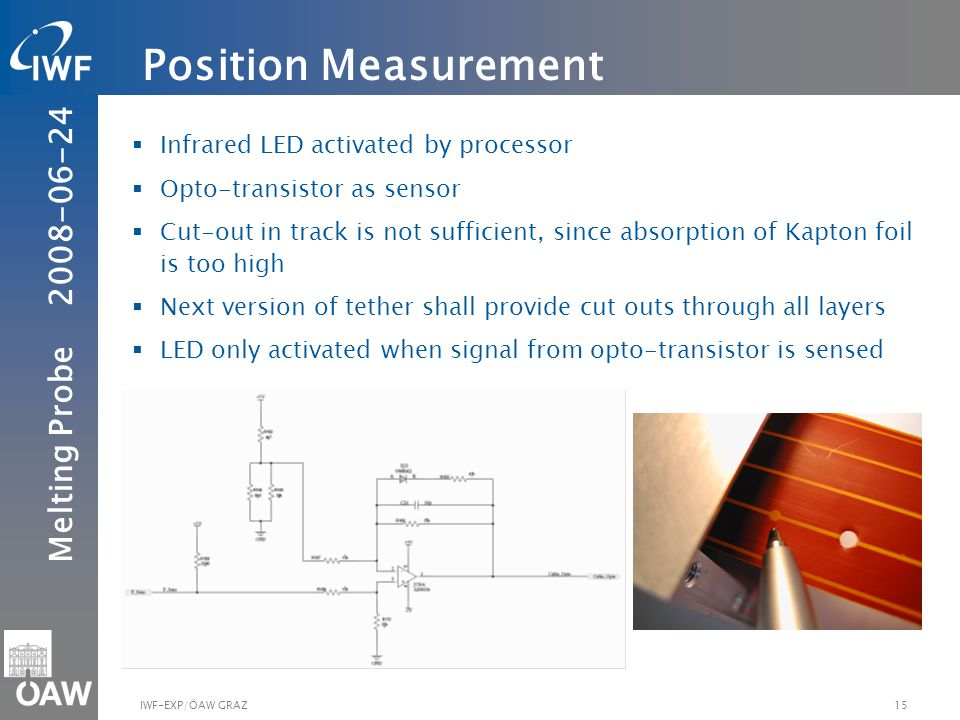 Melting Probe IWF-EXP/ÖAW GRAZ Infrared LED activated by processor Opto-transistor as sensor Cut-out in track is not sufficient, since absorption of Kapton foil is too high Next version of tether shall provide cut outs through all layers LED only activated when signal from opto-transistor is sensed Position Measurement