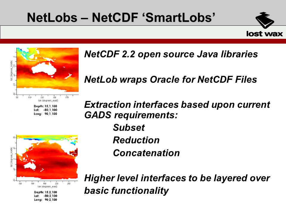 NetLobs – NetCDF SmartLobs NetCDF 2.2 open source Java libraries NetLob wraps Oracle for NetCDF Files Extraction interfaces based upon current GADS requirements: Subset Reduction Concatenation Higher level interfaces to be layered over basic functionality