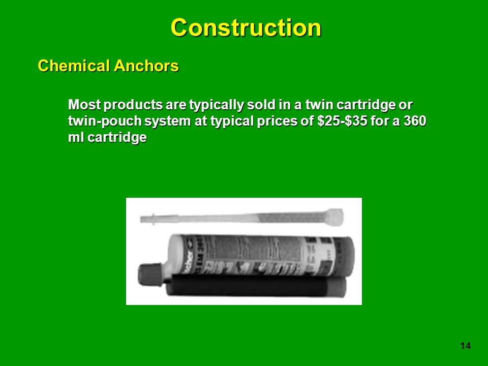 14 Construction Most products are typically sold in a twin cartridge or twin-pouch system at typical prices of $25-$35 for a 360 ml cartridge Chemical Anchors