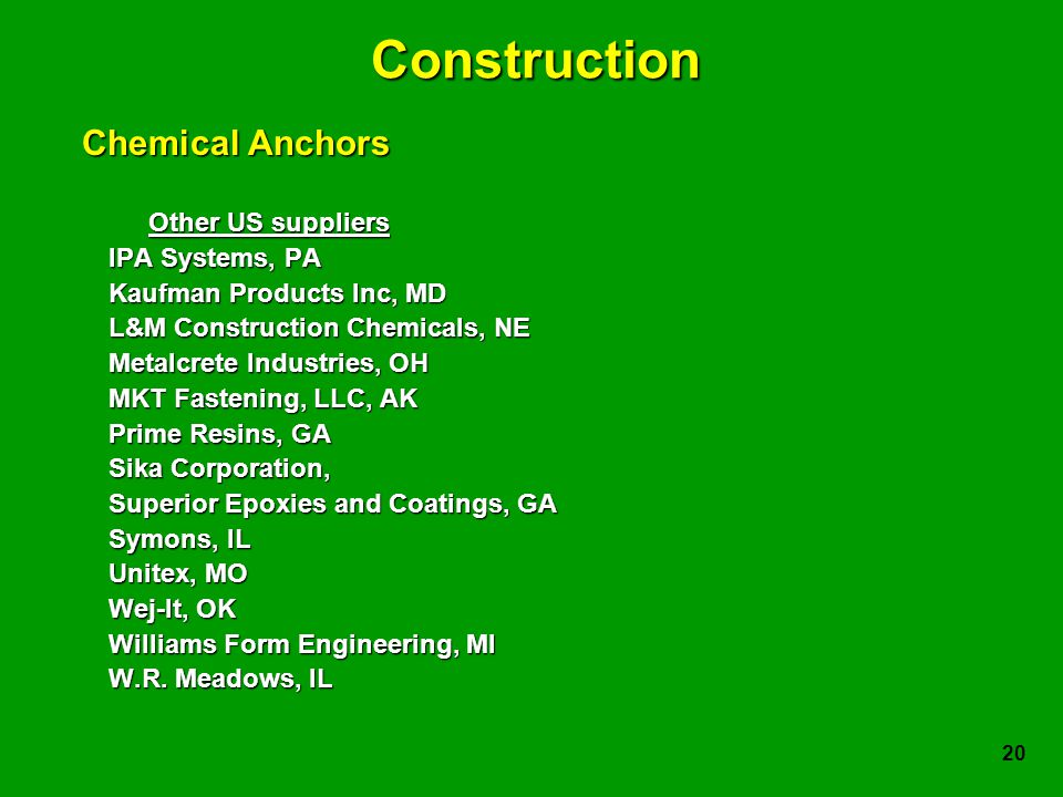 20 Construction Other US suppliers IPA Systems, PA Kaufman Products Inc, MD L&M Construction Chemicals, NE Metalcrete Industries, OH MKT Fastening, LLC, AK Prime Resins, GA Sika Corporation, Superior Epoxies and Coatings, GA Symons, IL Unitex, MO Wej-It, OK Williams Form Engineering, MI W.R.