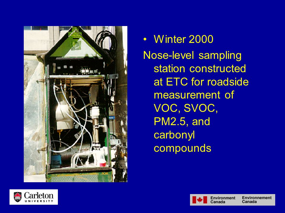 Winter 2000 Nose-level sampling station constructed at ETC for roadside measurement of VOC, SVOC, PM2.5, and carbonyl compounds