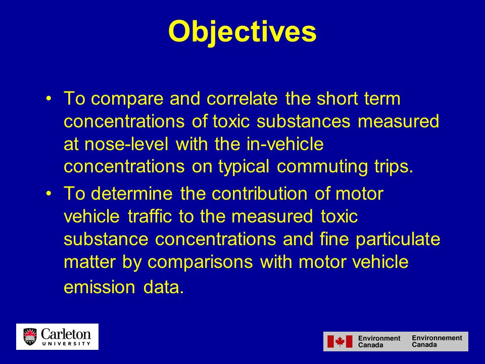 Objectives To compare and correlate the short term concentrations of toxic substances measured at nose-level with the in-vehicle concentrations on typical commuting trips.