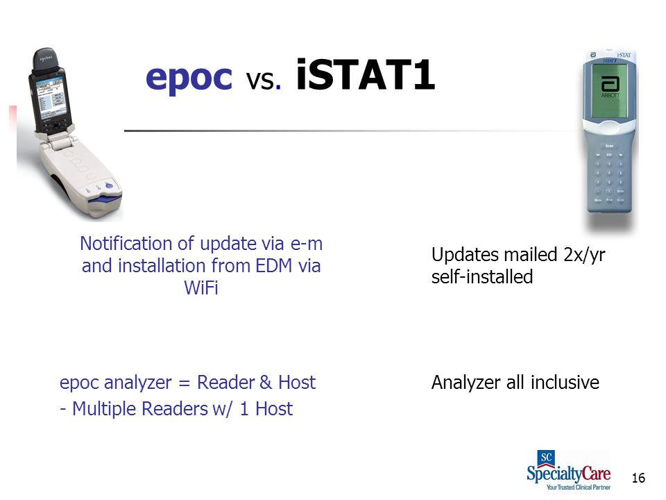 16 epoc vs. iSTAT1 Notification of update via e-m and installation from EDM via WiFi Updates mailed 2x/yr self-installed epoc analyzer = Reader & Host