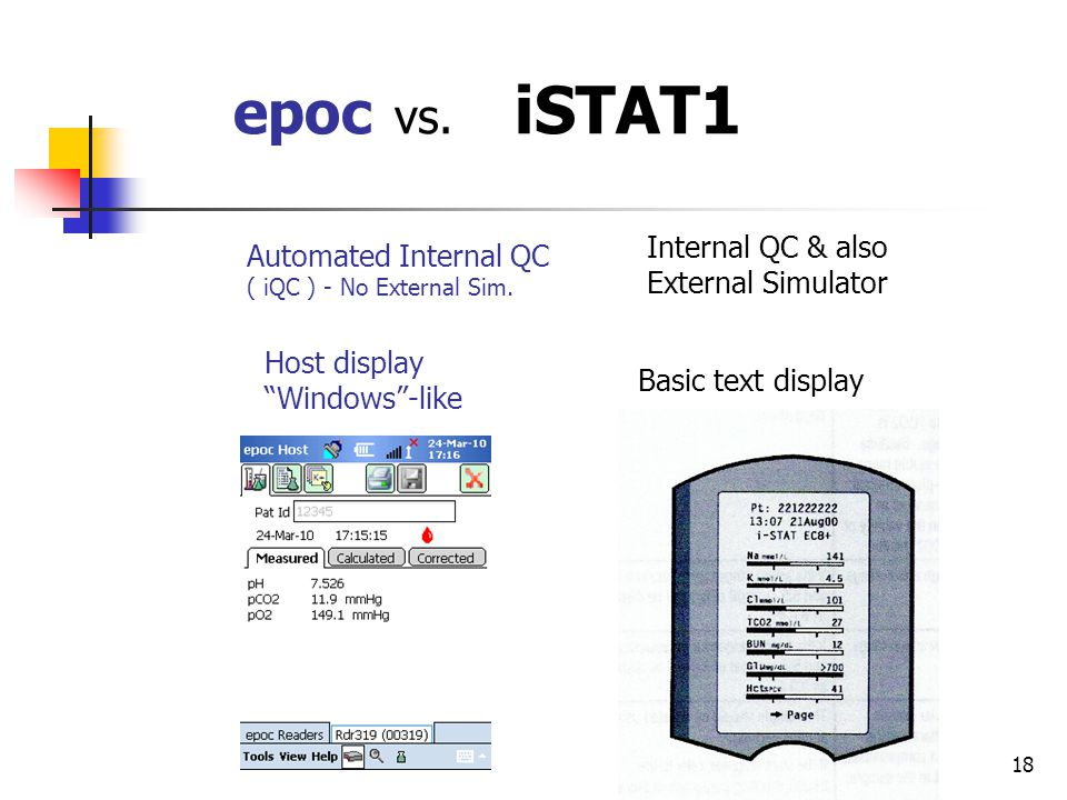 18 epoc vs. iSTAT1 Automated Internal QC ( iQC ) - No External Sim.