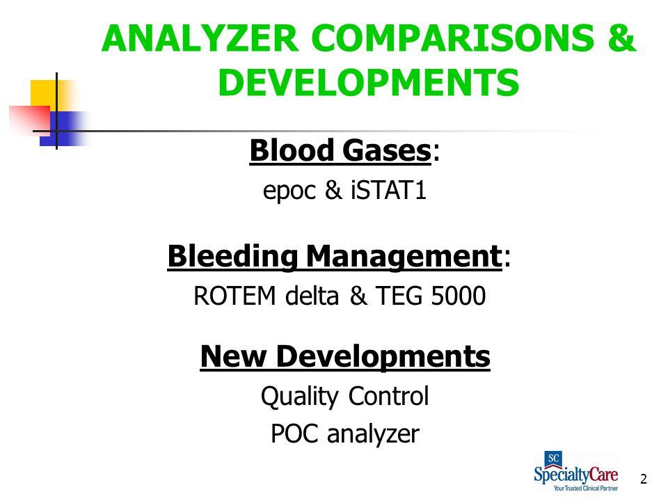 2 ANALYZER COMPARISONS & DEVELOPMENTS Bleeding Management: ROTEM delta & TEG 5000 New Developments Quality Control POC analyzer Blood Gases: epoc & iSTAT1