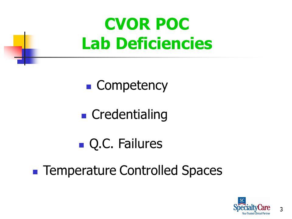3 CVOR POC Lab Deficiencies Competency Credentialing Q.C. Failures Temperature Controlled Spaces