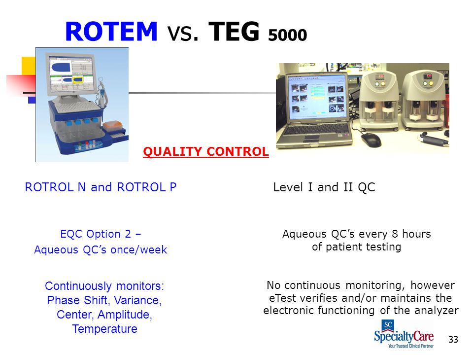 33 ROTEM vs. TEG 5000 EQC Option 2 – Aqueous QCs once/week Aqueous QCs every 8 hours of patient testing QUALITY CONTROL ROTROL N and ROTROL P Continuo