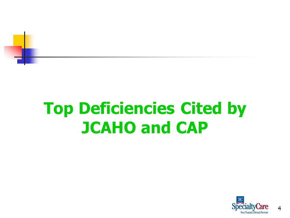 4 Top Deficiencies Cited by JCAHO and CAP