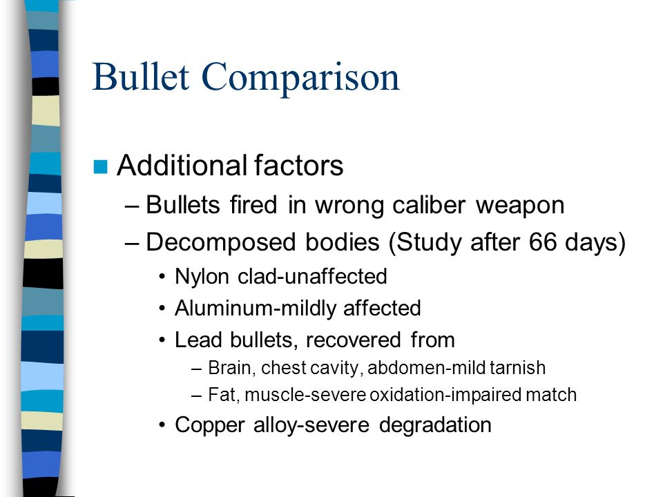 Bullet Comparison Additional factors –Bullets fired in wrong caliber weapon –Decomposed bodies (Study after 66 days) Nylon clad-unaffected Aluminum-mi