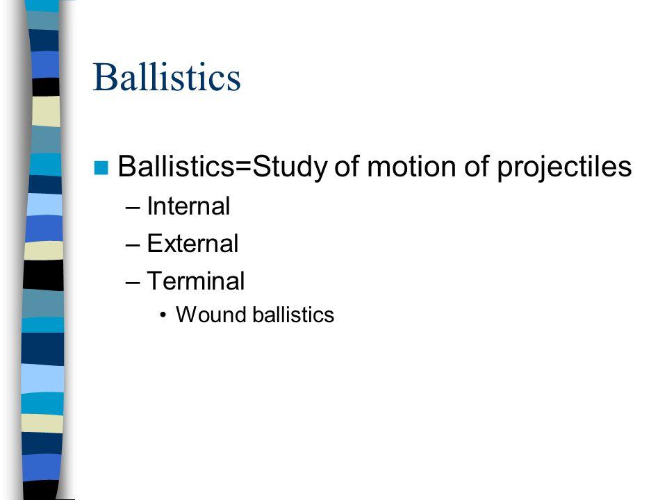 Ballistics Ballistics=Study of motion of projectiles –Internal –External –Terminal Wound ballistics