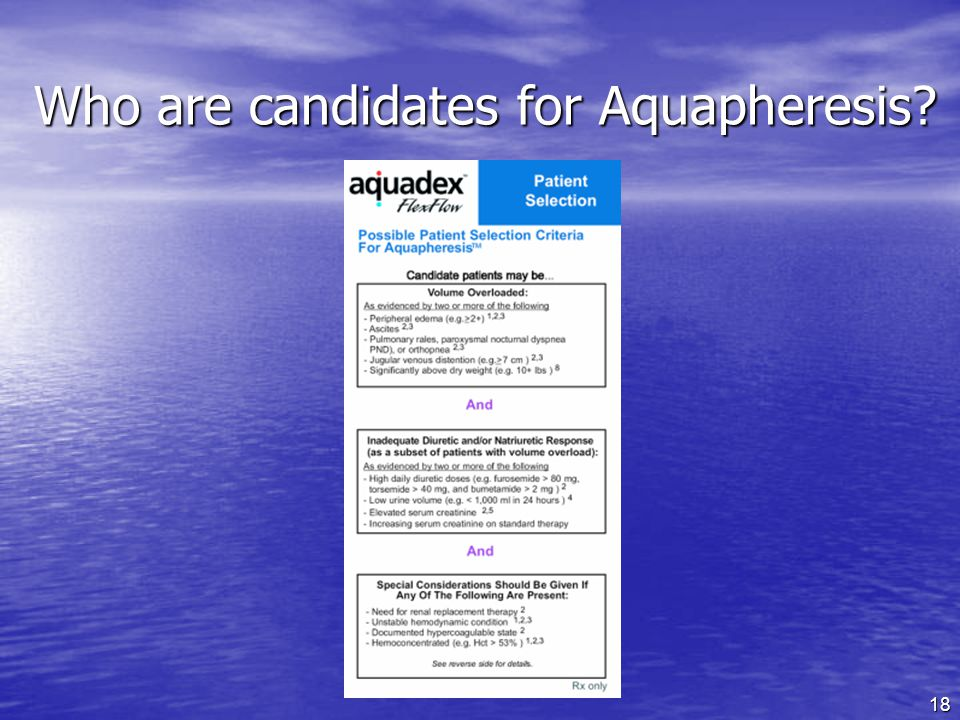 18 Who are candidates for Aquapheresis?