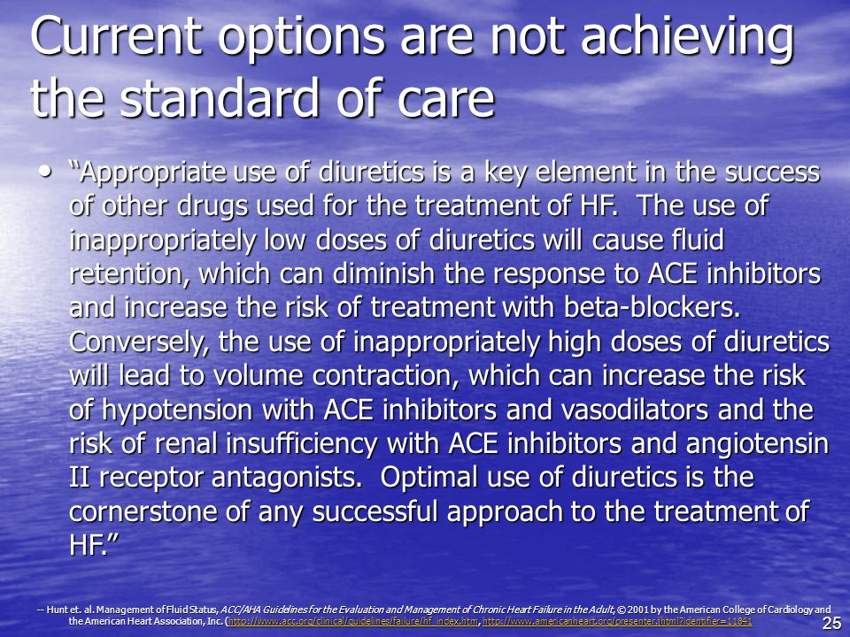 25 Current options are not achieving the standard of care Appropriate use of diuretics is a key element in the success of other drugs used for the treatment of HF.